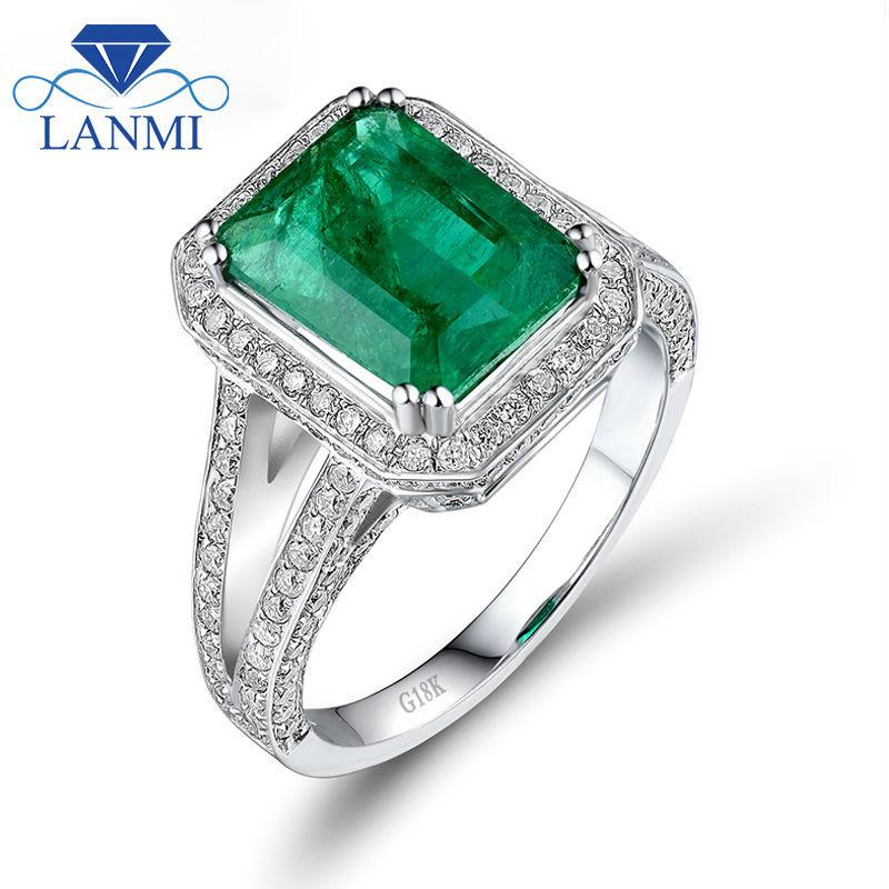 26c1a7b5e5b 2019 LANMI Vintage Emerald Cut 8x10mm Solid 18k White Gold Natural  Colombian Emerald Ring Real Diamond Women Engagement Fine Jewelry C18111701  From Tong06