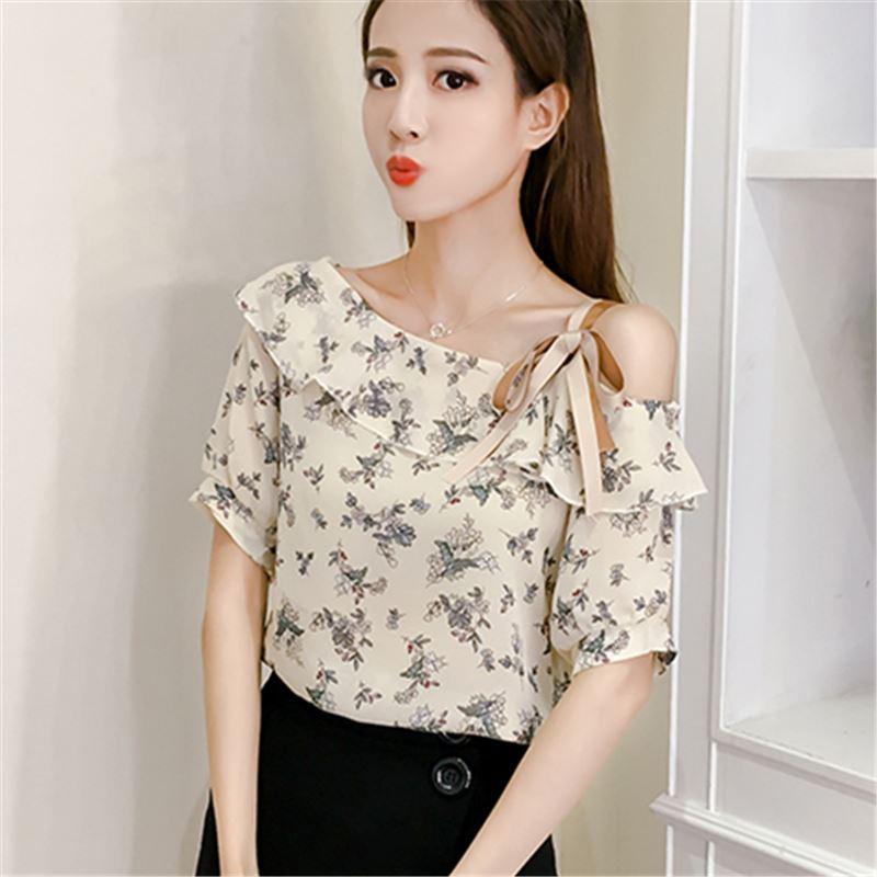 1d3e15626e8a56 2019 2017 Fashion Women S Summer Blouses Off Shoulder Tops Female Chiffon  Ruffles Blouse Ruffled Floral Print Short Sleeve Shirt From Marrisha