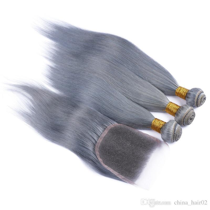 Chiusura in pizzo 4x4 grigio argento Parte centrale 3 libera con offerte di bundle Capelli umani vergini brasiliani colorati a tinta unita con chiusura