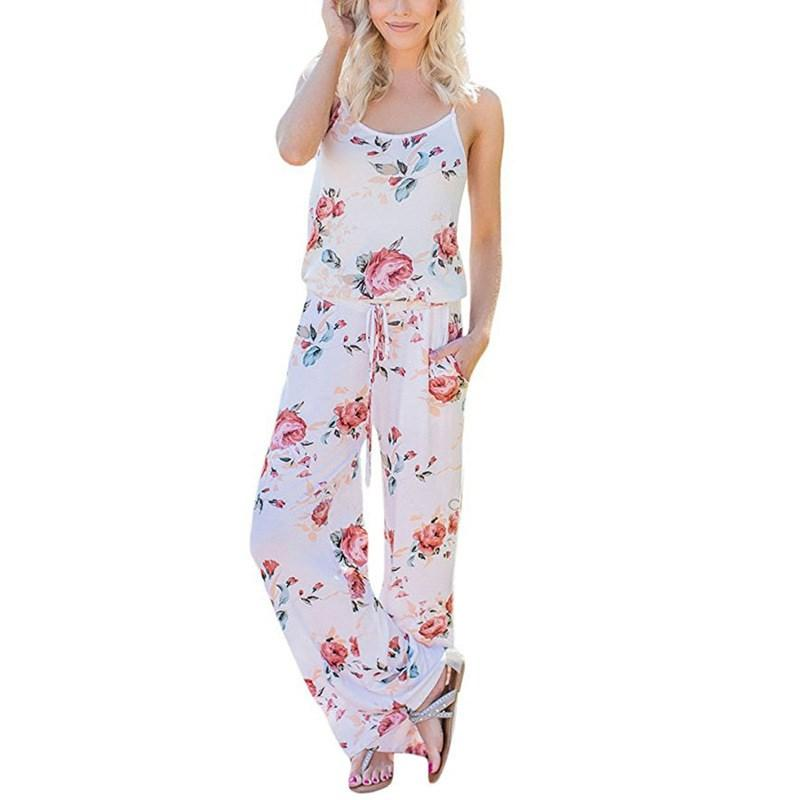 85543f943f2 2018 Wide Leg Long Pants Casual Off The Shoulder Womens Romper Female  Floral Printed Spaghetti Strap Loose Backless Jumpsuits Rompers From  Feiyancao