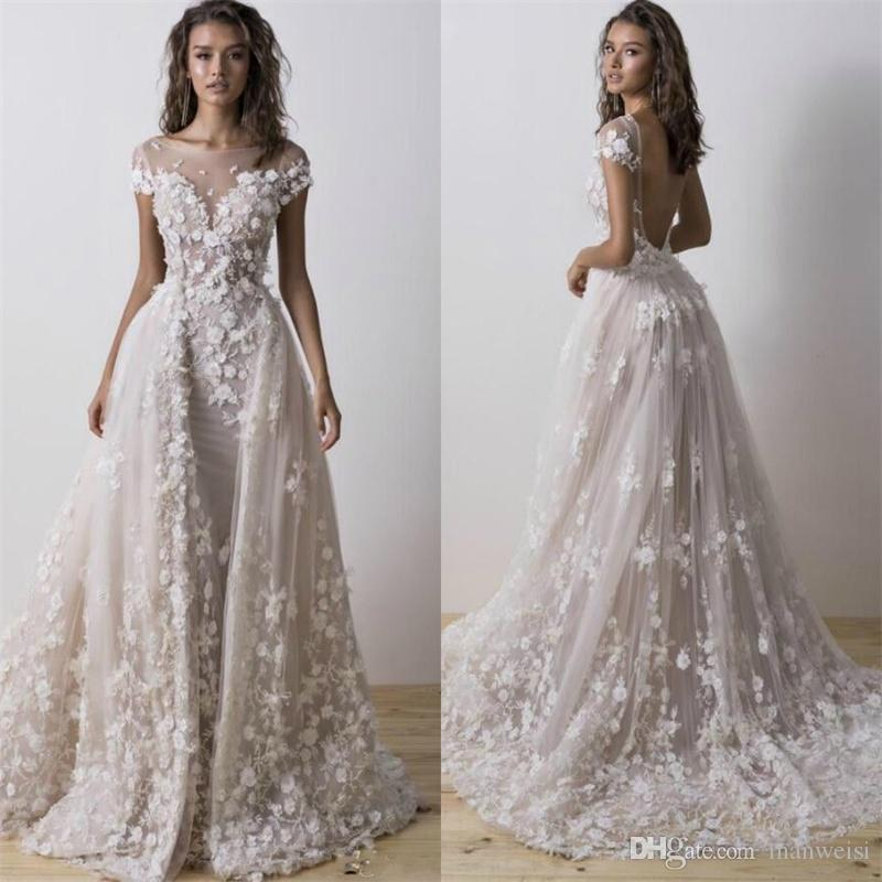 f6c25235b4f Pallas Couture 2018 Mermaid Wedding Dresses With Detachable Train Short  Sleeves Boho Bridal Gowns 3D Floral Appliqued Backless Wedding Dress Cheap  Wedding ...