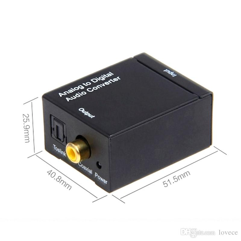 EDD Digital Toslink SPDIF Coaxial para Analógico L / R RCA Adaptador Conversor De Áudio HMP_40M