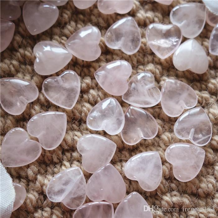 13*13*4mm Heart Shape Rose Quartz With Half Hole Natural Gemstone Loose Beads For Jewelry DIY