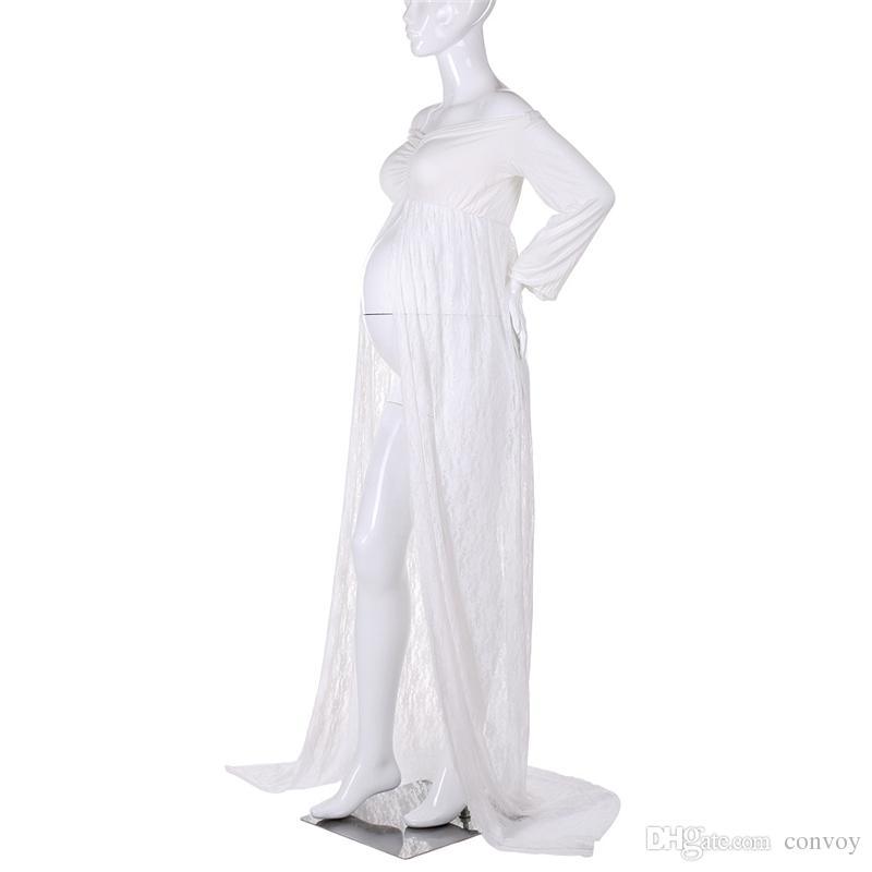 New Sexy Vestido Grávido Praia Império Plus Size Casamento Maternidade Rendas De Algodão Dividir Frente Fotografia Mulheres Gravidez Vestido Longo WND03