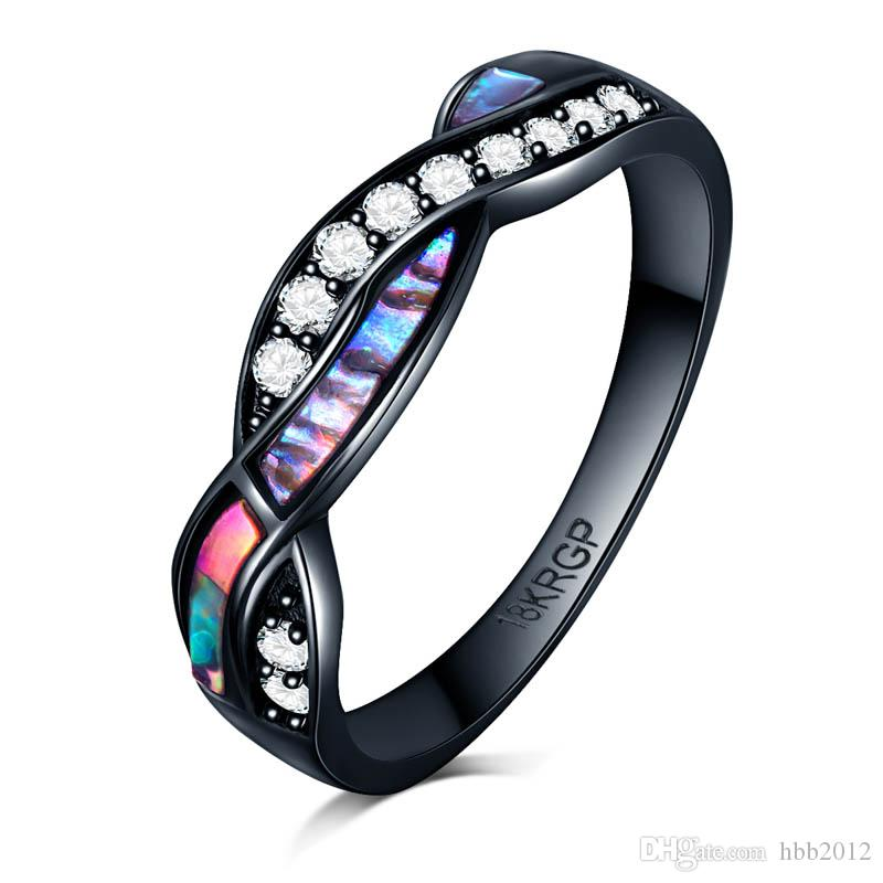 Men CZ Cross Ring Fashion colorful shiney Shell Black Gold Filled Vintage Wedding Ring For Women alliance Anel