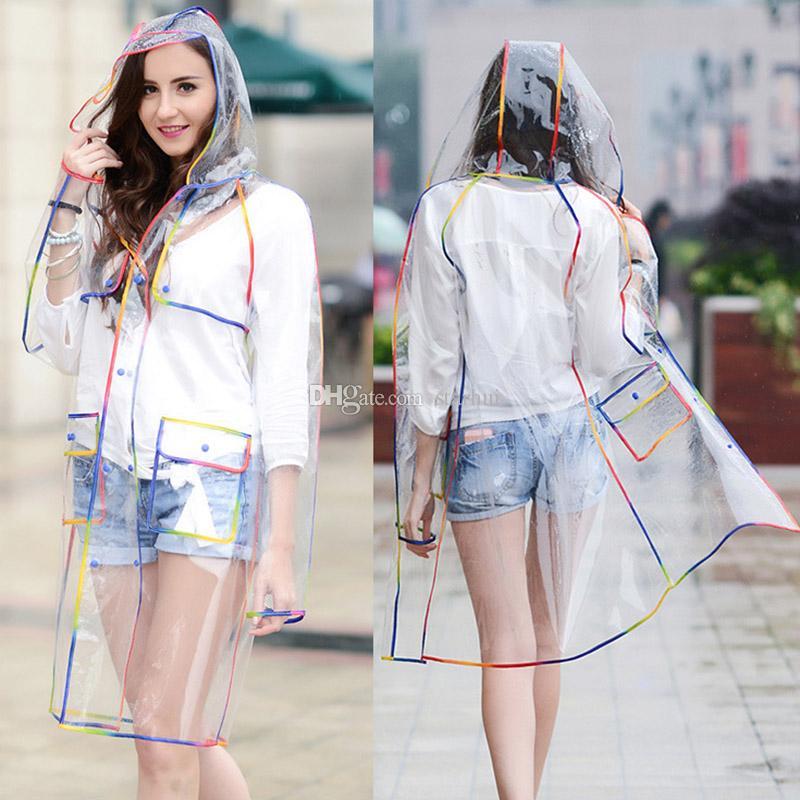إيفا ماء شفاف المعطف المألوف النساء ملابس ضد المطر معطف المطر سترة rainbow هامش ملابس المطر والعتاد dhl شحن WX9-379