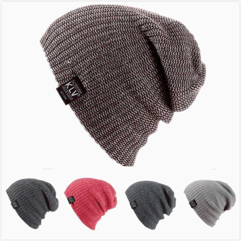 Compre KLV Invierno Mujer Gorras Lana De Punto Chico Niña Sombrero Crochet  Beanie Skull Slouchy Caps Sombreros Femeninos Gorro Caliente Hip Hop Slouch  2 A ... e9c8be66f27