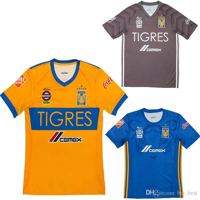 bd7d5ecfb0711 Hombres Tigres UANL Fútbol JERSEY TERCER UNIFORME 2018 CABALLERO 18 19  GIGNAC Vargas H.Ayala SOSA JERSEY VISITA 6 ESTRELLAS EST 3RD Camisa Gris  Por Bet best ...