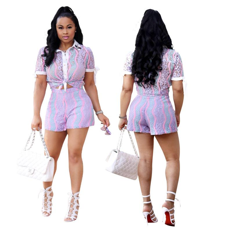 2018 New Lace 2 Piece Set Donna Sexy Scava Fuori Camicette all'uncinetto Camicia e Shorts Moda Donna Siut