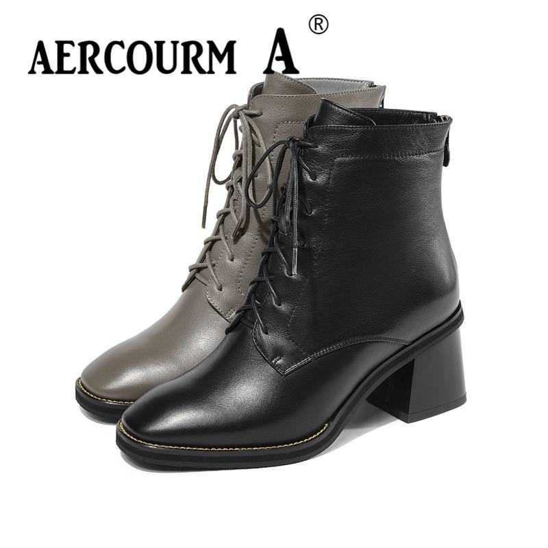 f8aacea10 Compre Aercourm A 2019 Mulheres Tornozelo Botas De Couro Genuíno Senhora De  Inverno Rendas Sapatos De Salto Quadrado Curto De Pelúcia Cor Sólida 34 43  De ...