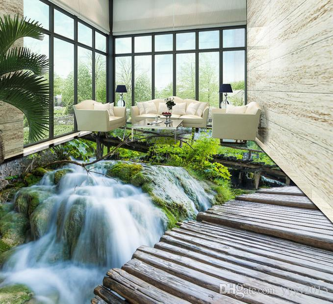 Custom 3d Floor Wallpaper Flowers Road Bathroom Kitchen: Wallpapers For Living Room 3D Three Dimensional Waterfall