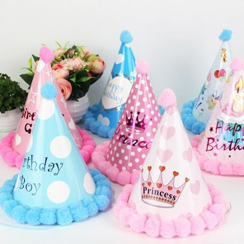 Kids Children Baby Boy Girl Adult Use Happy Birthday Party Hats Crown Prince Princess Heart Event Decoration Caps Boys 1st Hat