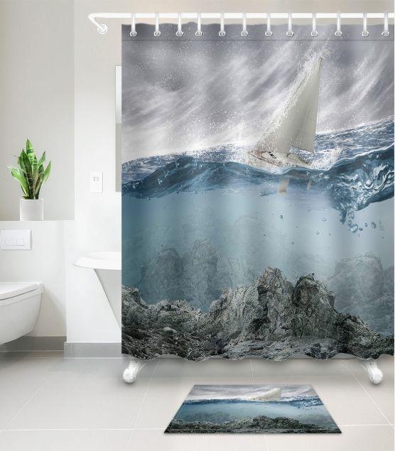 2019 Swaying Sailboat 3D Pattern Print Custom Waterproof Bathroom Modern Shower Curtain Polyester Fabric Door Mat Sets From Paintingart2017