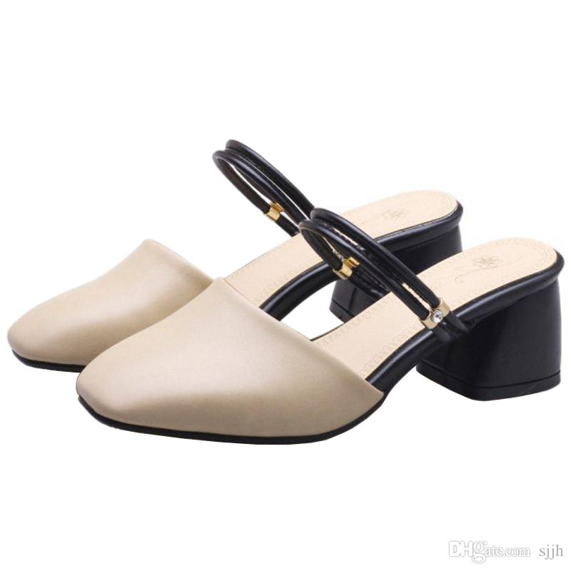 SJJH 2018 Woman Sandals with Chunky Heel and Square Toe Elegant Working Chic Shoes for Fashion Woman with Large Size Available A216