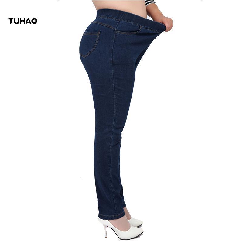 b4497ecda2152 2019 TUHAO High Waist Femme Jeans Plus Size 7XL 6XL 5XL 4XL Pencil Pants  2018 Spring Casual Jeans Women Trousers Denim Pants YH01 S18101604 From  Xingyan01