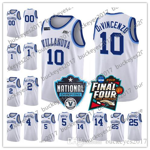 aaf46df45 2019 NCAA Villanova Wildcats  10 Donte DiVincenzo 4 Eric Paschall 2 Collin  Gillespie New 2018 White Stitched College Basketball Jerseys S 3XL From ...