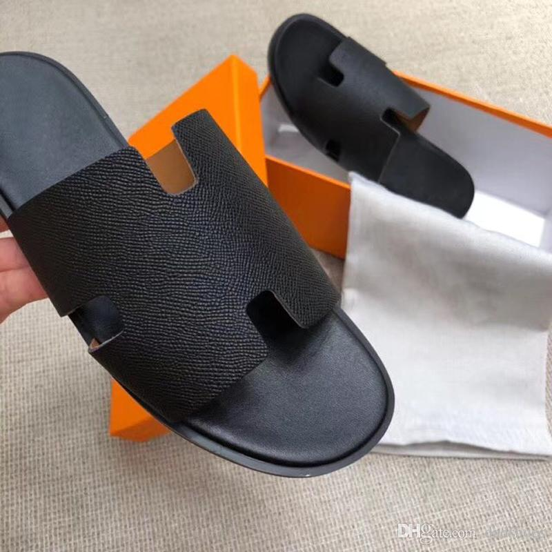Paris sandals fashion brand classic men's slippers super star shoe Genuine leather beach shoes high quality designer slippers casual loafers