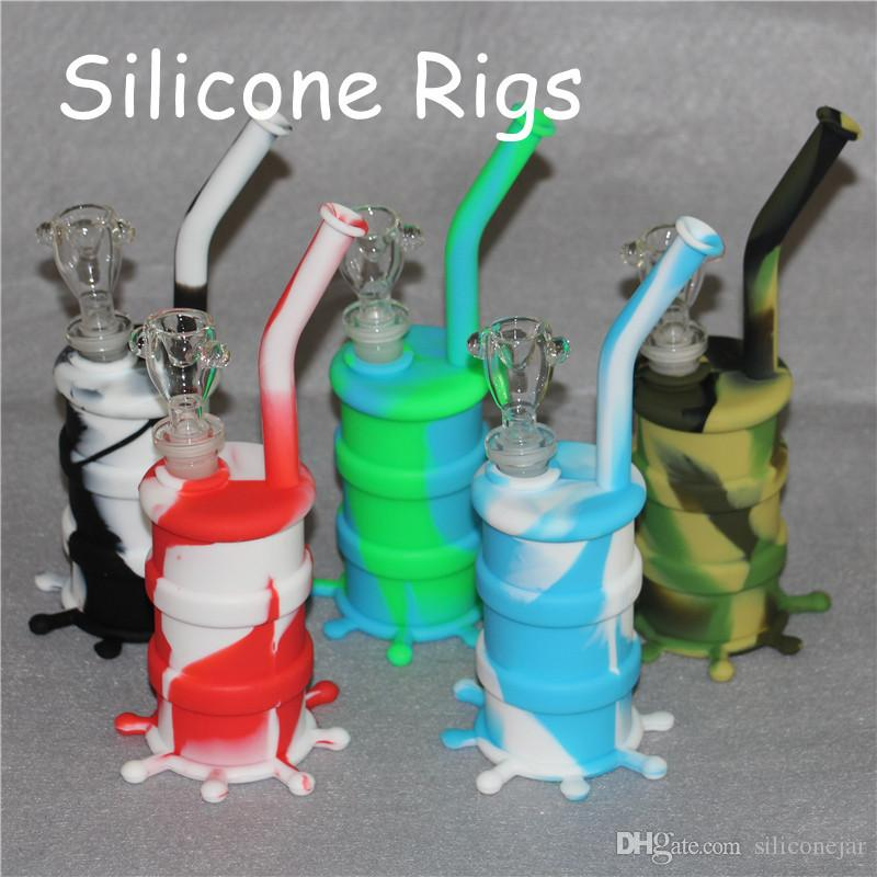 Hot Sale 100% Food Grade Silicone Dab Oil Rigs silicone barrel bongs  silicone nectar collector free shipping DHL