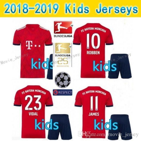 online store d6f42 cc2f8 Bayern soccer Jersey Kids Kit 18 19 FC Bayern Munich home red Soccer  Jerseys #25 MULLER #11 JAMES Child Soccer Shirts uniform jersey+shorts