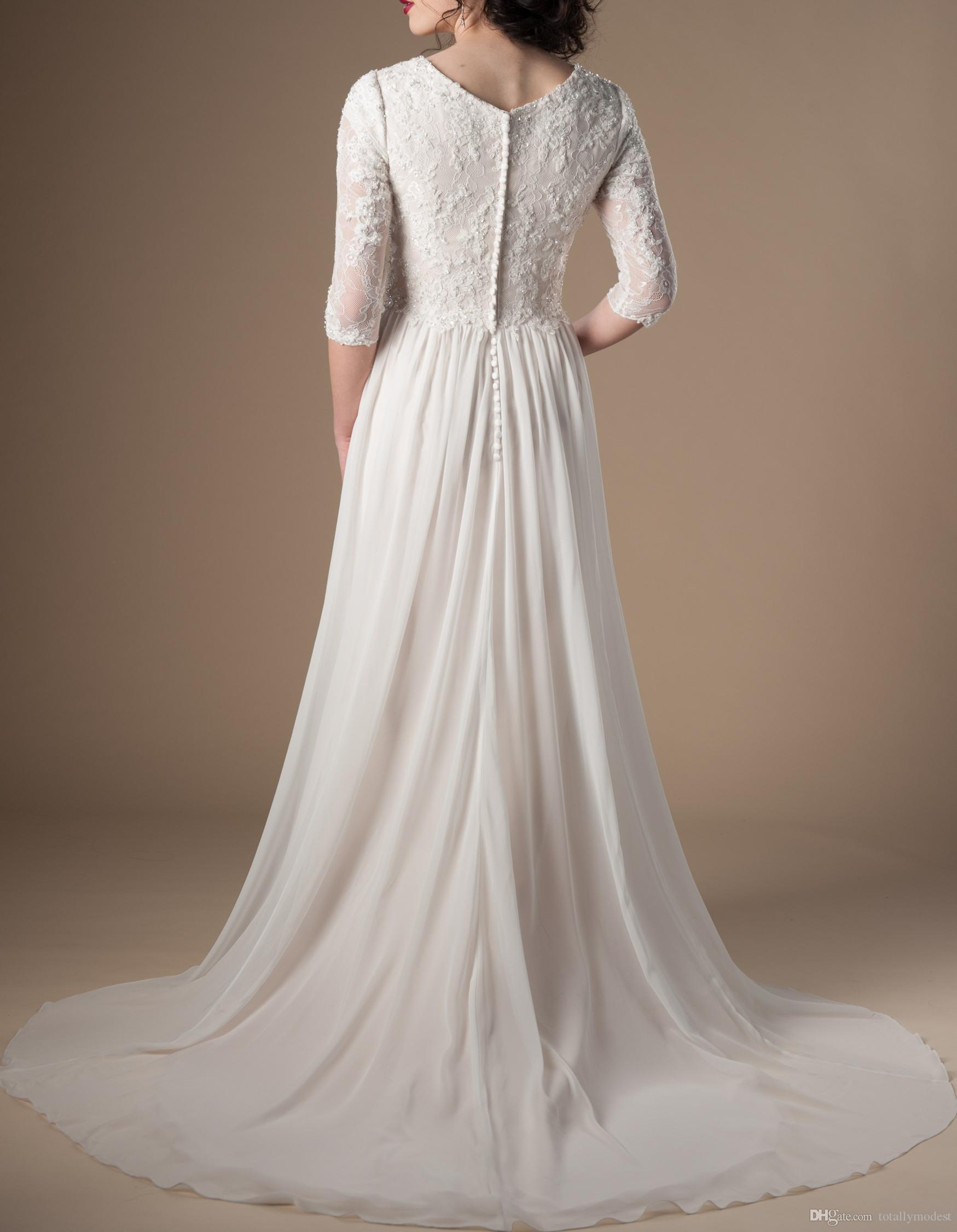 Ivory Champagne Modest Wedding Dresses With 3/4 Sleeves Beaded Lace A-line Chiffon Boho Informal Bridal Gown LDS Religious Wedding Gown