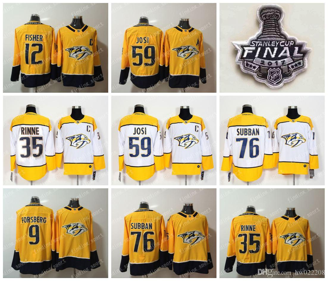 quality design 0cc51 6f0a9 2018 Nashville Predators 76 PK Subban 92 Ryan Johansen 9 Forsberg 12 Mike  Fisher 35 Pekka Rinne 59 Roman Josi men Hockey Jerseys