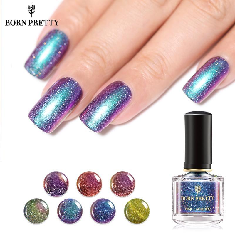 BORN PRETTY Chameleon Nail Polish 6ml Galaxy Starry Sky Glitter Nail Art  Varnish Black Base Color Needed