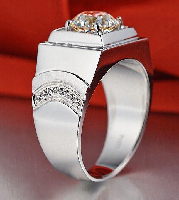 Ronde Classique Véritable 1 ct SONA Bagues synthétiques de diamant pour hommes