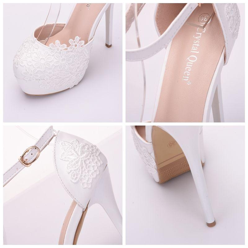untere Spitze Hochzeit hohlen High Heels Baotou Kleid Schuhe Sandalen Damenschuhe paltform Braut Schuhe