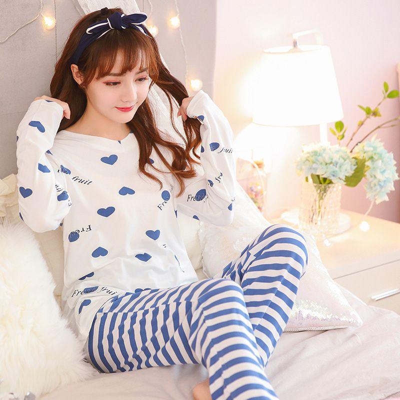 1f26fd4ceb Compre Conjunto De Pijamas 2018 Otoño Invierno Manga Larga Raya Encantadora Mujer  Traje De Dormir Chica Pijama Mujeres Camisón Ropa Casual Para El Hogar A ...