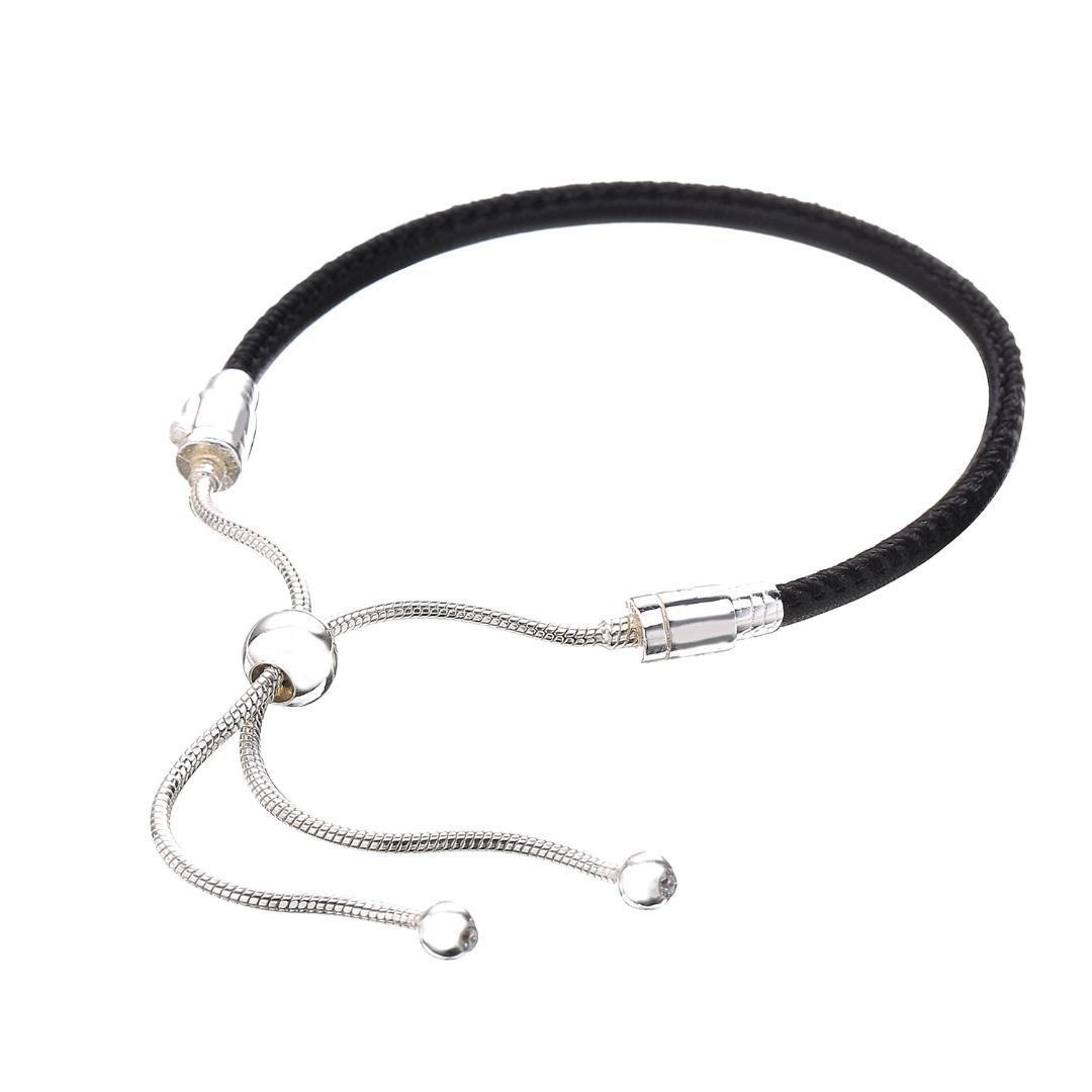 2019 925 Sterling Silver Bracelet Moments Leather With Adjustable