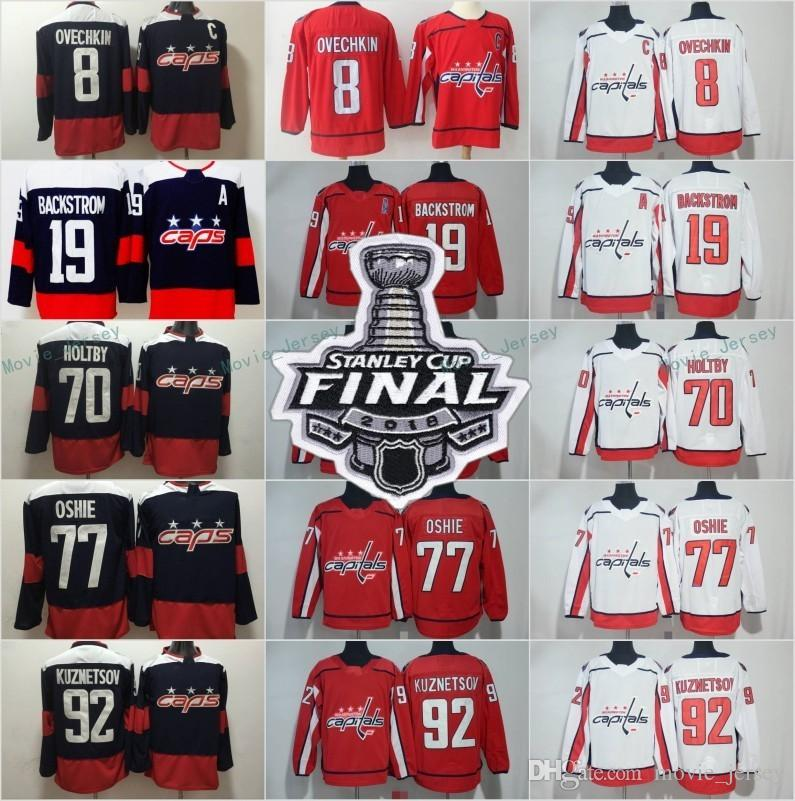 a4b328b52 2019 2018 Stanley Cup Finals Stadium Series Hockey Washington Capitals 8 Alex  Ovechkin 19 Nicklas Backstrom Jerseys TJ Oshie 92 Evgeny Kuznetsov From ...