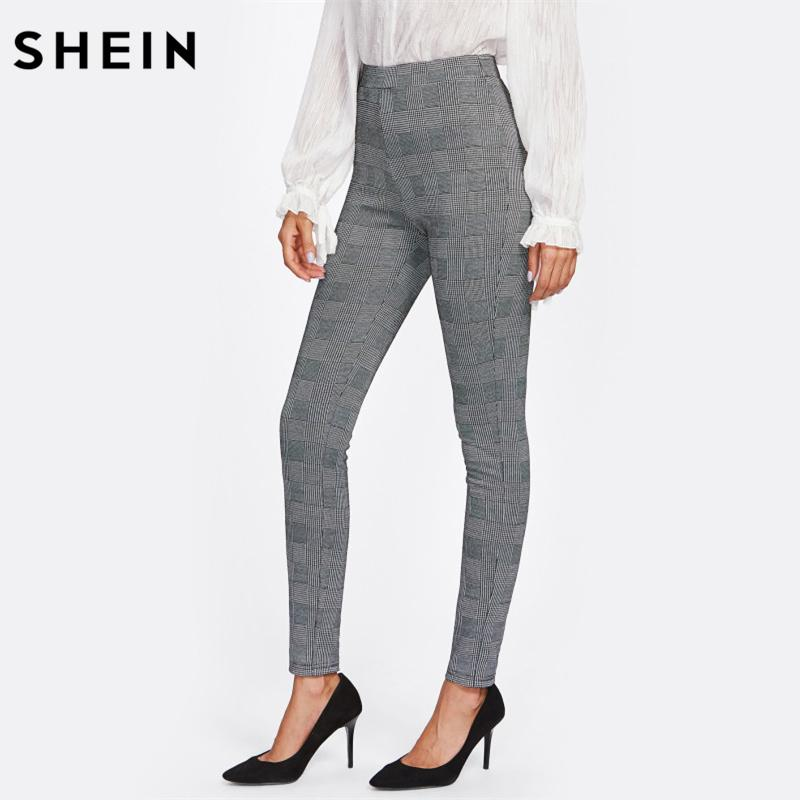 1f454f5021ec SHEIN High Waisted Pants Autumn Elegant Trousers Women Grey Plaid Stretchy  Pants Ladies Elastic Waist Skinny Pants C18110901 Online with $28.45/Piece  on ...