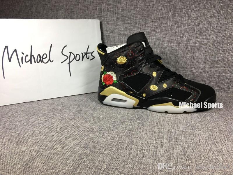 Avec boîte 6 s Happy Chinese New Year 2018 CNY noir 6 chaussures de basket-ball sneakers avec des formateurs d'hommes fleur couture