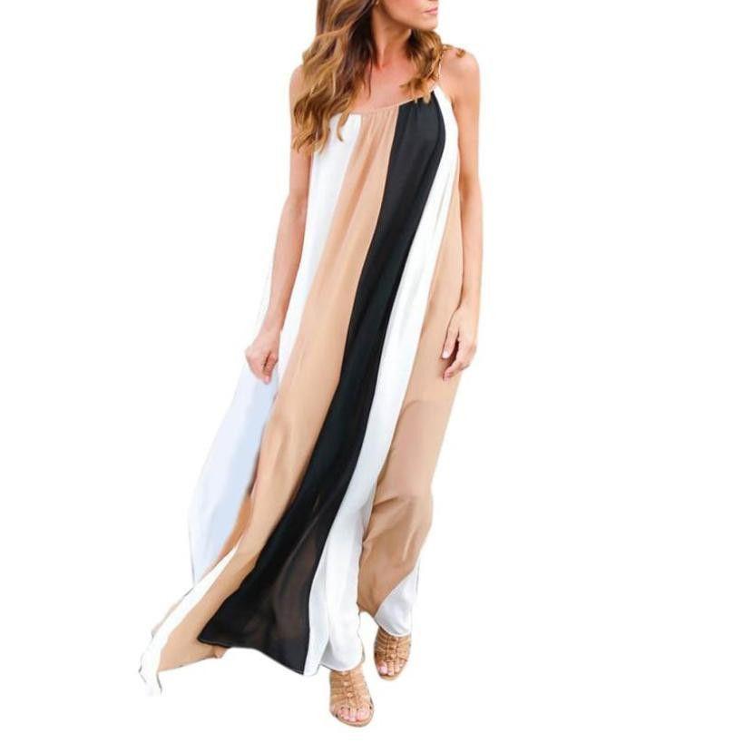 cbf0a79fac Good Quality Womens Chiffon Dress Summer Loose Patchwork Sleeveless Beach  Dresses Fashion Long Dress Robe Femme  L Quinceanera Dresses Dresses Online  From ...