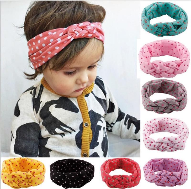 Bebek Çocuk Düğüm Bantlar Örgülü Kafa wrap Puantiyeli Çapraz Düğüm Bebek Türban Kravat Düğüm Başkanı wrap çocuk Saç Aksesuarları TO661