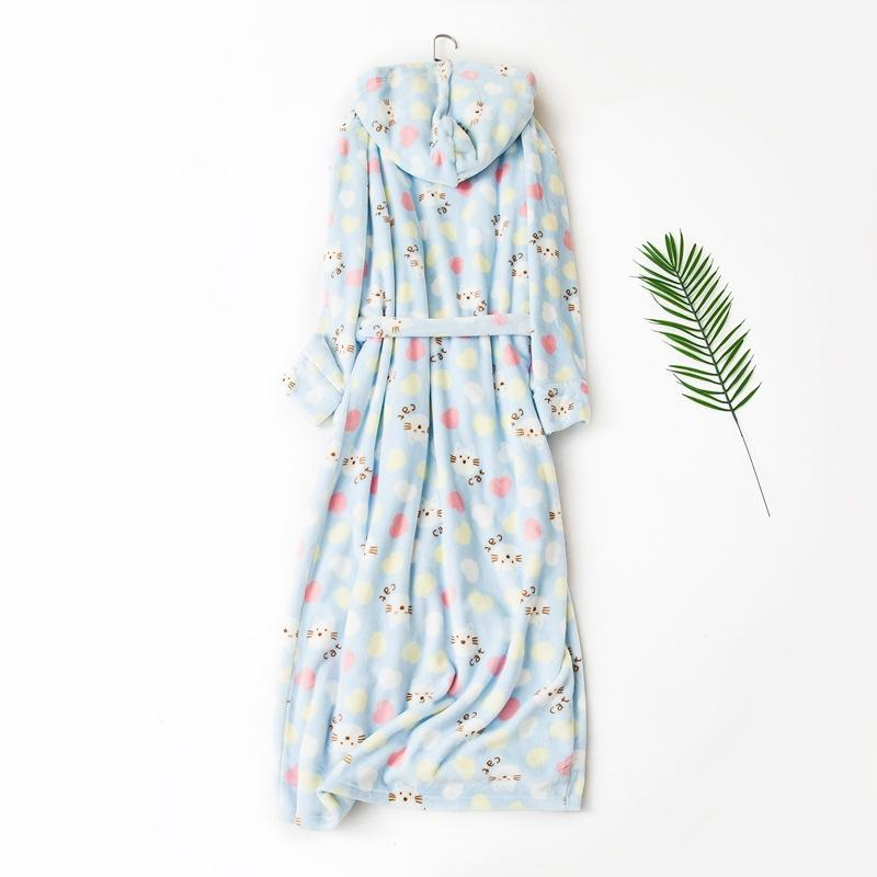 83e7c4fd4286 2019 Women Winter Cute Cat Printing Long Bathrobes Thick Warm Flannel Bath  Robe With Cap Knee Length Nightgowns Ladies Dressing Gown From Odelettu