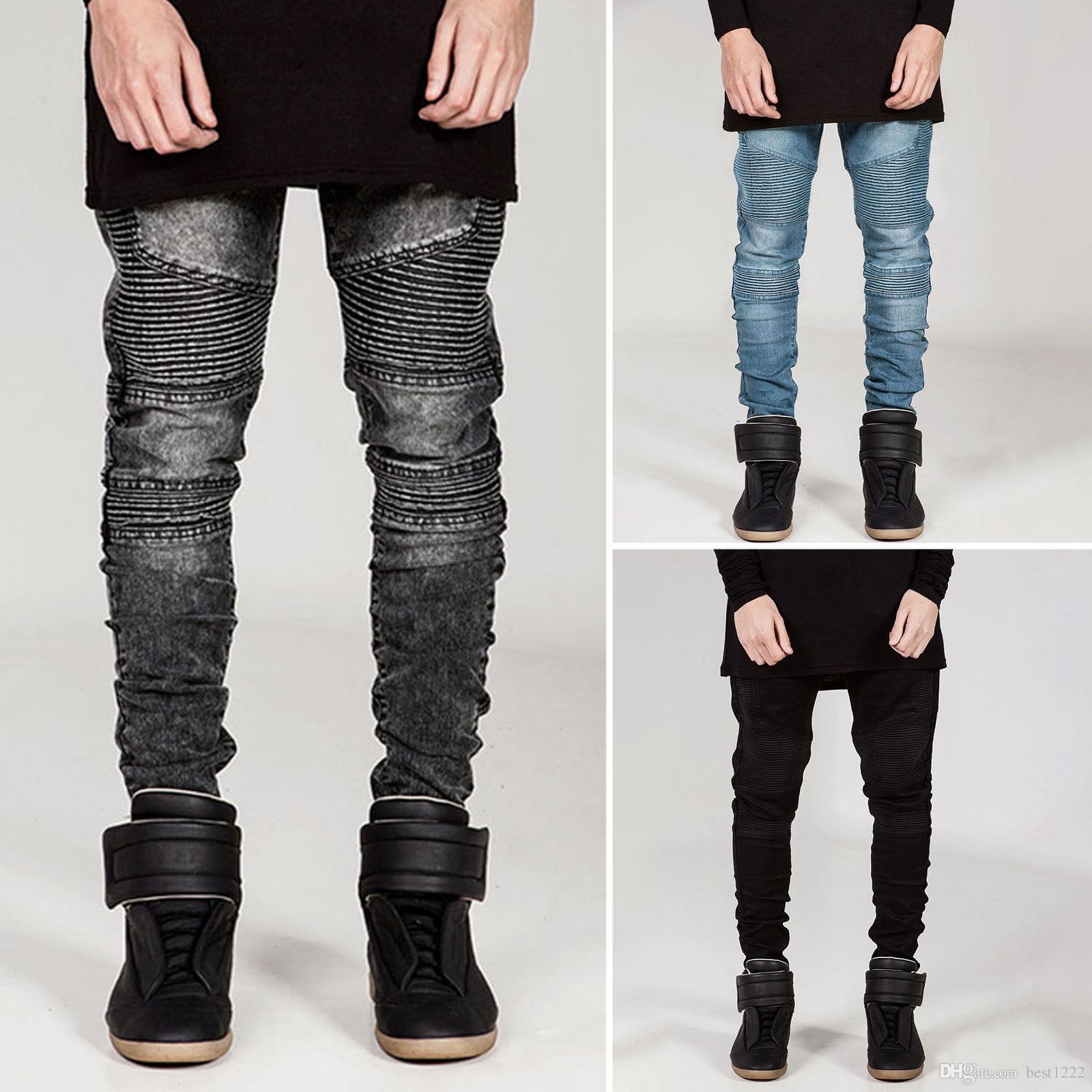 En gros nouveaux fabricants ventes directes de l'Europe et les États-Unis BIKER JEANS marée marque pantalons pantalons slim slim jeans