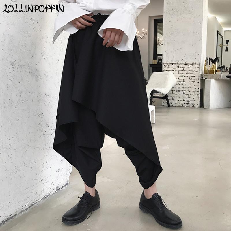 26651f77295e3 Compre Hombres Gótico Estilo Punk Pantalones Harem Negros Soltar  Entrepierna Pantalones Sueltos Cintura Elástica Hip Hop Irregular En Capas  Tobillo Longitud ...