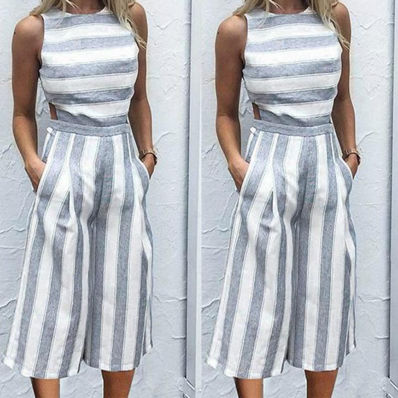 46814a7bba1 2019 Women S Sleeveless Striped Jumpsuits Casual Boho Beach Wide Leg Pants  Rompers Jumpsuit Pockets Female Plus Size Overalls GV363 From Luzhenbao521