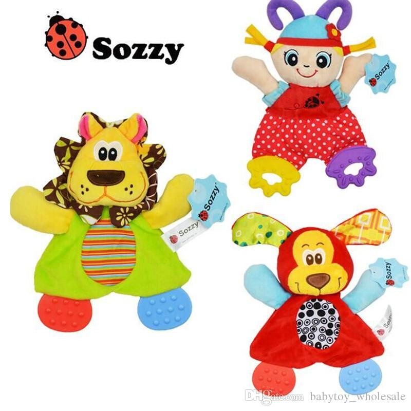 Sozzy Doll Dinosaur Soft Crinkle Rattle Towel Infant Baby Comfort Sleeping Toys for Children Teether and Activity Gift Can Bite