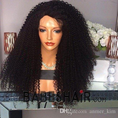 Affordable Affordable Beautiful 100% Unprocessed Virgin Remy Human Hair  Long Natural Color Afro Curly Silk Top Full Lace Wig For Black Women Lace  Wig With ... 64497f100