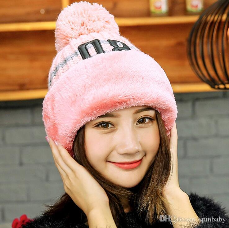 f4e83d79fcc 2019 2018 Knit Cap Scarf Cap Two Piece Winter Hats For Women Fur Winter  Beanie Fleece Hat Balaclava With Neckwa Rmer From Spinbaby