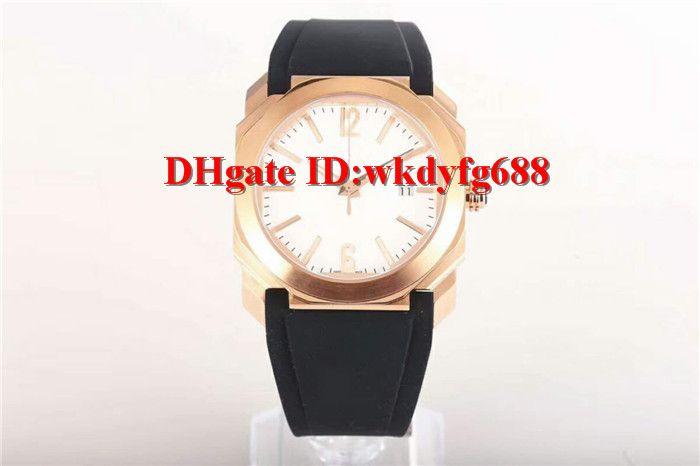 Fábrica V3 Nova versão de atualização Octo Solotempo 101963 Mens relógios Rose caixa de ouro 316L Aço 9015 automática pulseira de borracha de cristal de safira