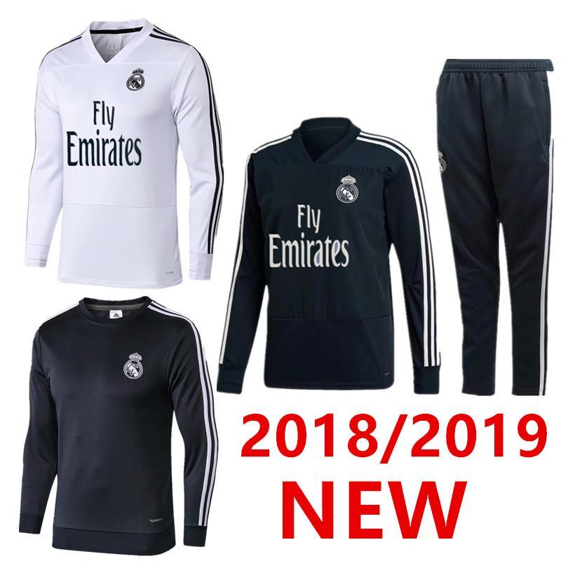 Compre 2018 2019 Chándal De Entrenamiento Con Traje De Chándal De Madrid  Real Pantalones Largos 18 19 Real Madrid Trainning ISCO Top Set Chaqueta  RONALDO A ... d27a985369053