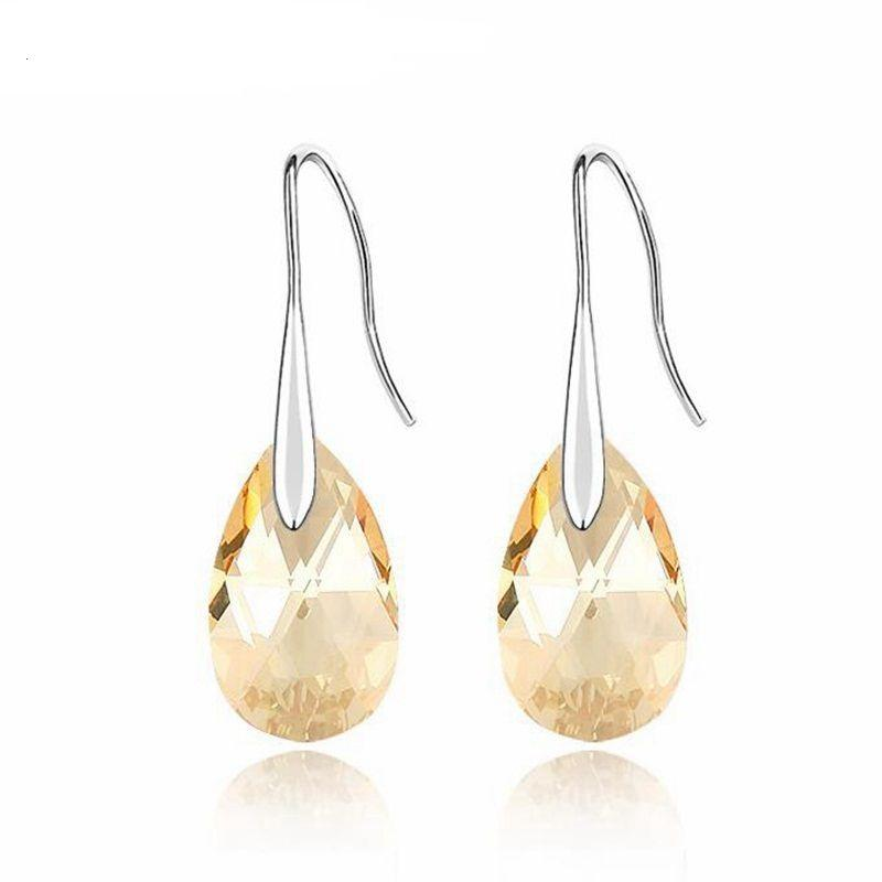 Cristales pendientes de gota de agua cuelgan de Mujeres del partido austríaco plateado del oro blanco Piercing Accesorios 2019 regalos de Navidad