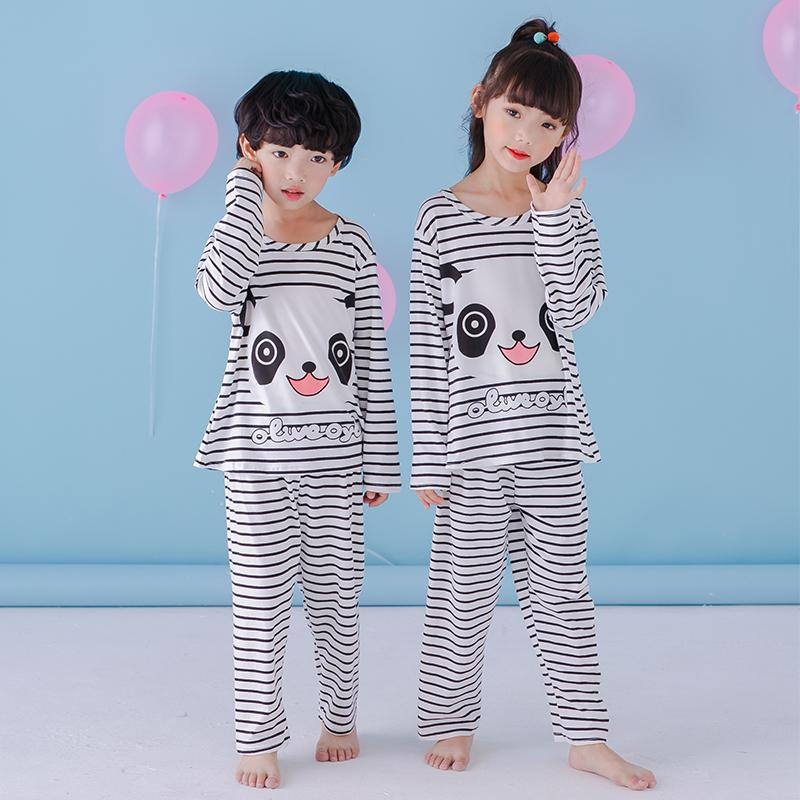 Children  S Pajamas Set Long Sleeved Boy Stripe Panda Pyjamas Girls Cute  Cartoon Home Clothes Big Children  S Sleepwear Clothing Summer Pjs For Boys  Baby ... f66aed398b22