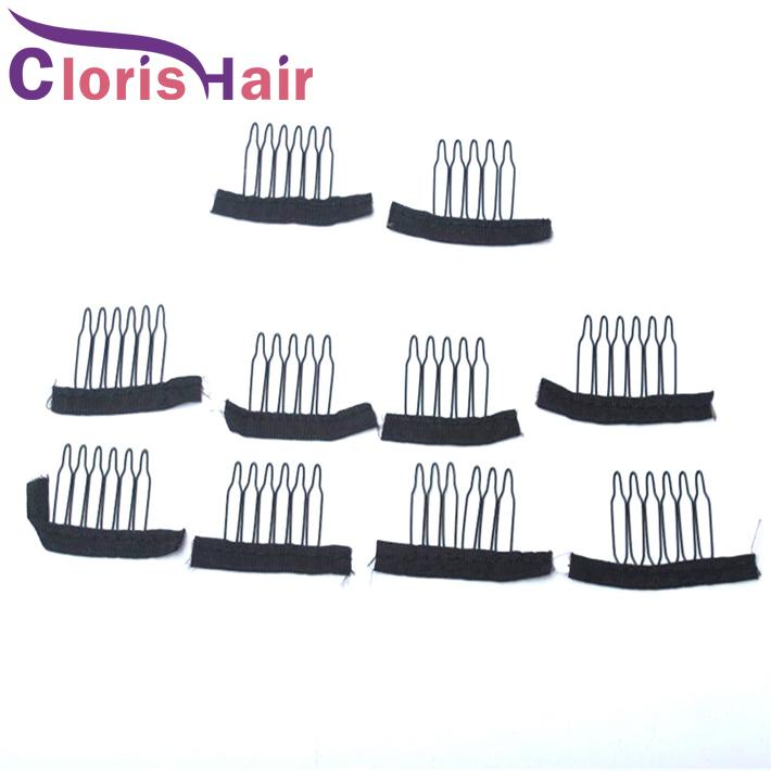 Stainless Steel Lace Wig Clips 6 Teeth Polyester Durable Cloth Wig Combs For Hairpiece Caps Wig Accessories Hair Extension Tools 10-