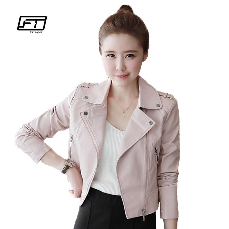 9878c15d033f0 2019 New Autumn Winter Women Leather Jackets Soft Pu Pink Leather Coats  Short Design Slim Cute Faux Motorcycle Outwear From Maoyili