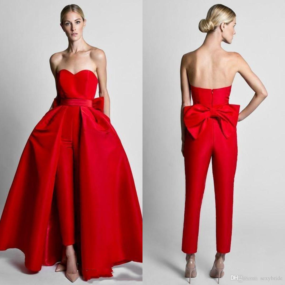 Krikor Jabotian 2019 Red Jumpsuits Prom Dresses With Detachable Overskirt Sweetheart Formal Evening Dresses Long Party Wear Pants for Women