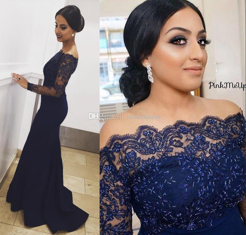 Long Sleeves Formal Evening Dresses 2019 Off Shoulder Appliques Beading Mermaid Long Navy Blue Prom Party Gowns Vestidos Plus Size Custom
